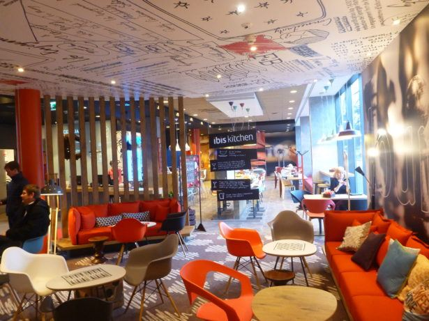 The cosy lobby and lounge area