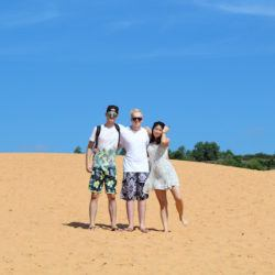World Travellers: Jamie from Gaijin Crew with friend Joe and girlfriend Wakana (Mui Ne sand dunes)