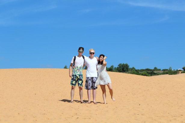 World Travellers: Jamie from Gaijin Crew with friend Joe and girlfriend Wakana (Mui Ne sand dunes)