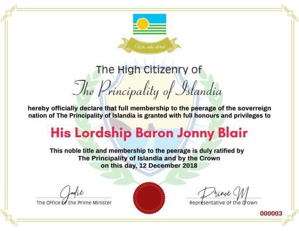 His Lordship Baron Jonny Blair - Islandia