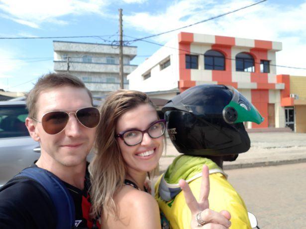 Malina and I on zemi-johns (shared motorbikes)!