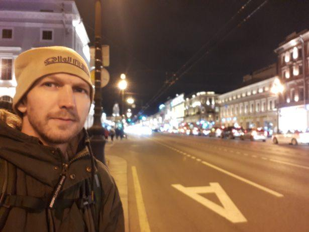 Walking down the famous Nevsky Prospekt, near to the Amazing Chemical Bar, Bar Laboratoriya 31, Saint Petersburg, Russia