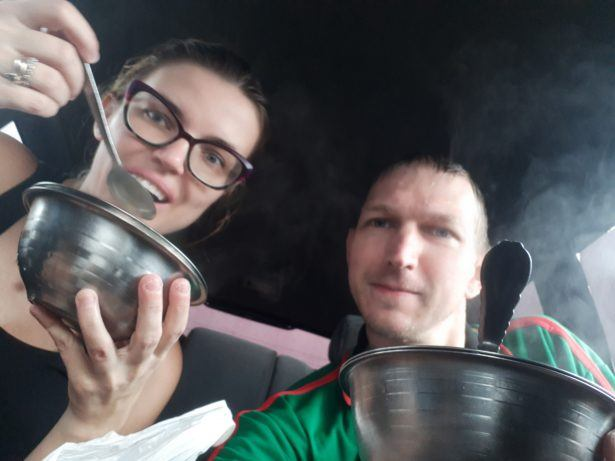 ABSURD: drinking coffee using a spoon from a bowl in BENIN.