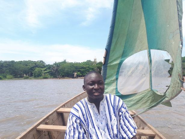 Our tour guide Jeremies on Lake Togo