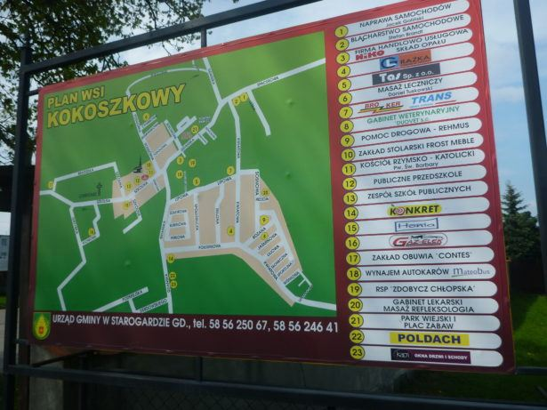 Kokoszkowy Village Map and Sign