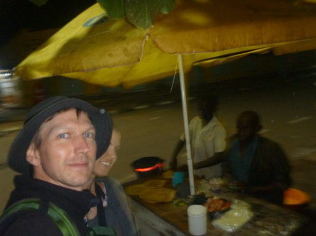 "Dining out in Tororo, eating ""roll eggs"" before the crazy trip to Jinja."