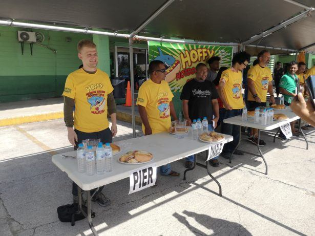 Pier representing Young Pioneer Tours at the Annual Hoffy Hot Dog Eating Contest in Majuro, Marshall Islands