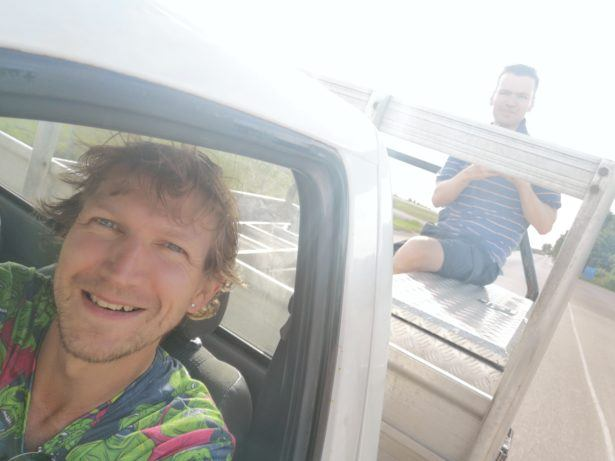Hitching a ride in Boe Province, Nauru