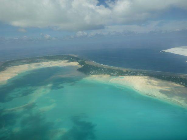 Flying over Tarawa Atoll in Kiribati