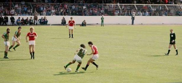 George Best playing for Glentoran v Manchester United at the Oval in 1982