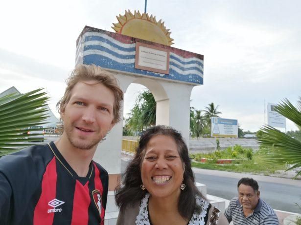 Outside the Kiribati Parliament with Molly Brown - our tour guide