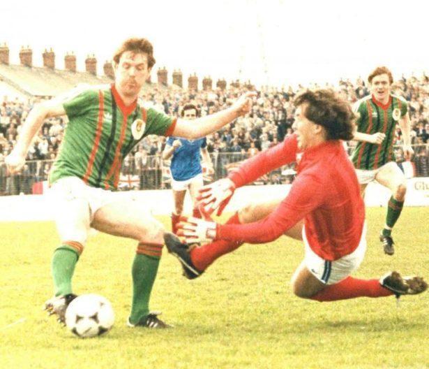 Childhood hero Johnny Jameson of Glentoran FC and Northern Ireland