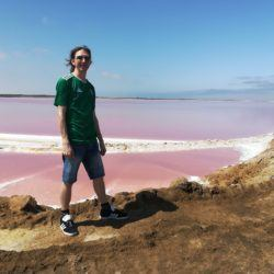 Backpacking in Namibia: Visiting the Walvis Bay Pink Lake and Salt Refinery