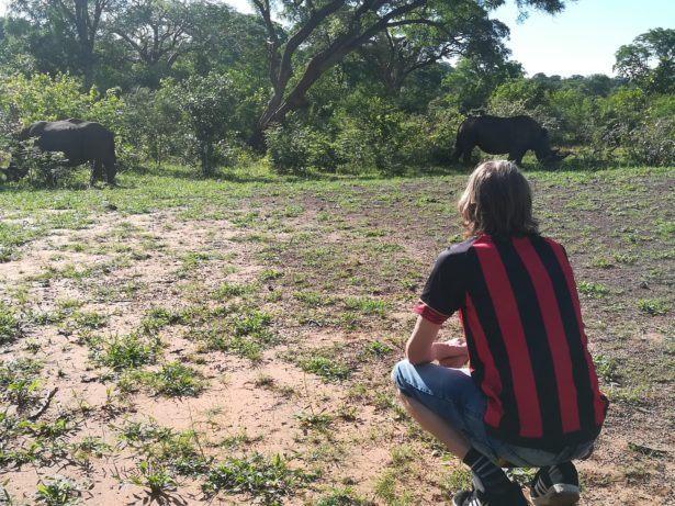 On the rhino walking safari at Mosi Oa Tunya Game Park nearby