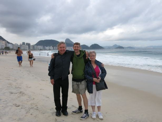 Copacabana Beach in Rio with Mum and Dad