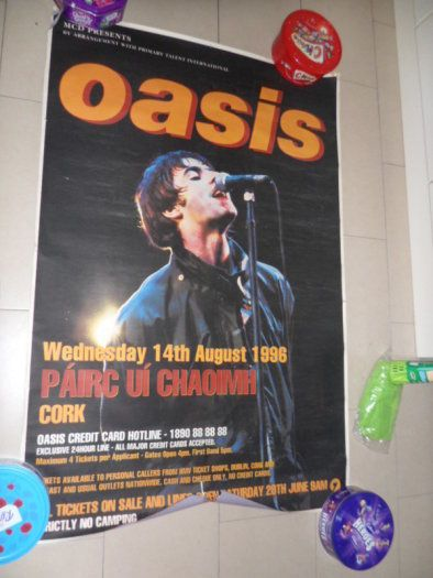 Advertisement poster for Oasis live in Cork, Republic of Ireland (1996)