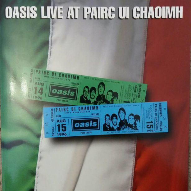 Gig programme for Oasis live in Cork, Republic of Ireland, 1996