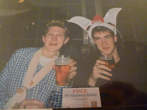 St. George's Night in London Town (2004), England with my broken arm.