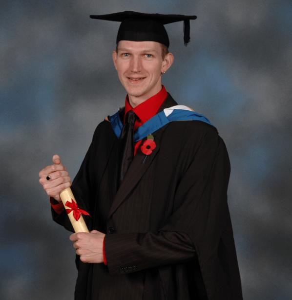 Graduation from Bournemouth University (2008)