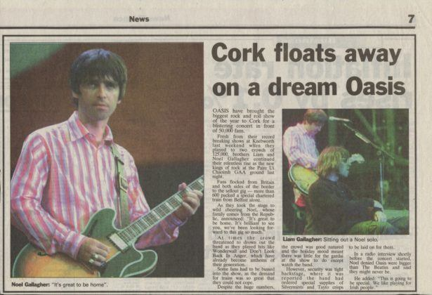 Belfast Telegraph report of Oasis live in Cork, Republic of Ireland, 1996