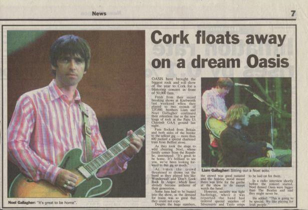 Belfast Telegraph report of Oasis live in Cork, Republic of Ireland, 1996