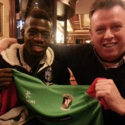 Sam Robinson with Afriyie Acquah (Glentoran and Ghana 2014)