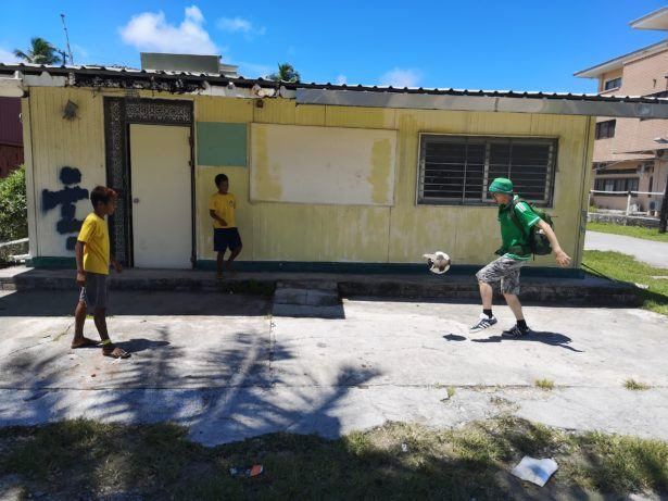 Playing football int he Marshall Islands, a country that doesn't play football!