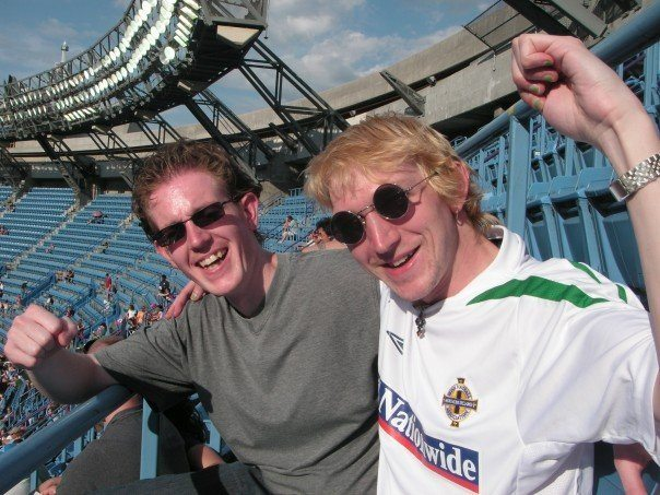Lee Price and I watching Baseball in Toronto in 2007 - the first travel blogger I met!