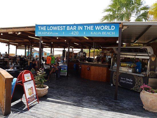 Lowest Bar in the World at Kalia Beach, Dead Sea, ISRAEL