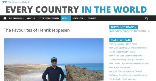 World Travellers: Henrik Jeppesen From Every Country In The World Dot Com